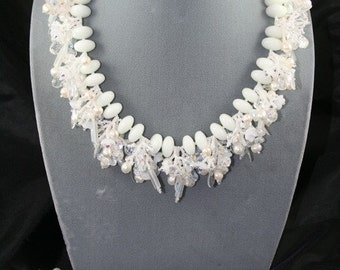 bridal jewelry necklace bracelet earrings with Swarovski pearls glass stones