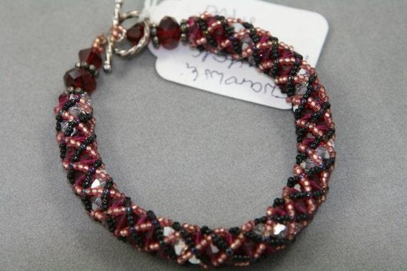 swarovski crystal bracelet bangle red burgundy
