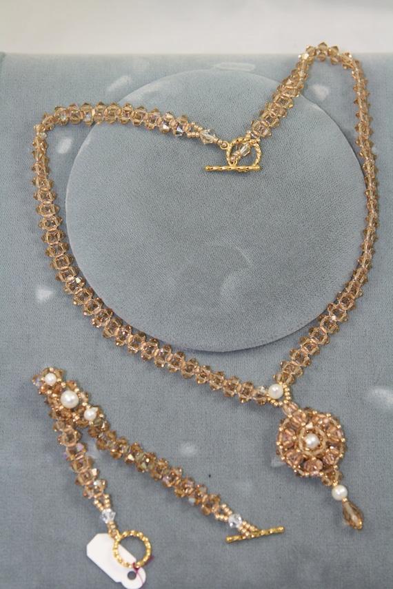 Swarovski crystals necklace, bracelet, earrings - set, gold topaz