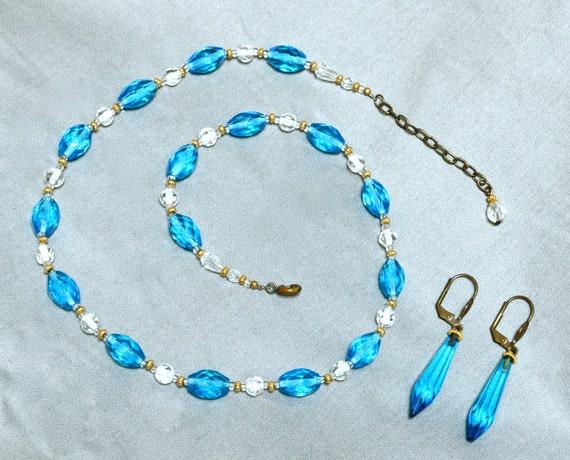 30s Czech Glass Bead Set - Necklace & Earrings - Cerulean Blue
