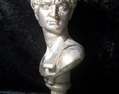 Michaelangelo's David Bust Upcycled in Cream and Gold