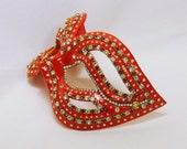 CUSTOM Masquerade Ball Mask - Red Mask - Red and Gold - Filigree Mask - Rhinestone Mask - Paper Mache Mask - Scarlet