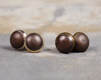 Copper-Upholstery Tack Post Earrings-Aged Brass or Silver Plated Setting