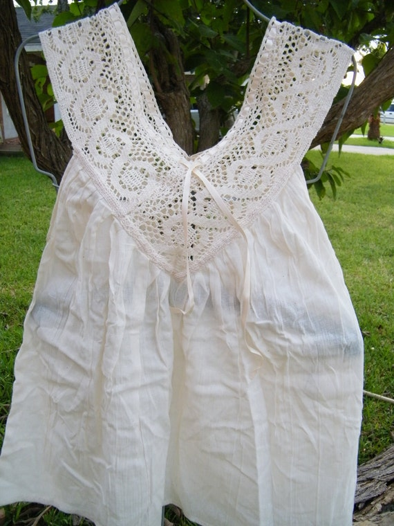 4th Design Beige Gauze Blouse w/Crochet Collar-RESERVED for PANIANATALIE