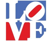LOVE poster 13x13 in White Blue Red