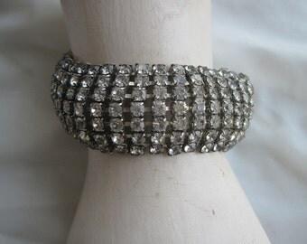 Vintage Rhinestone Bracelet Wide