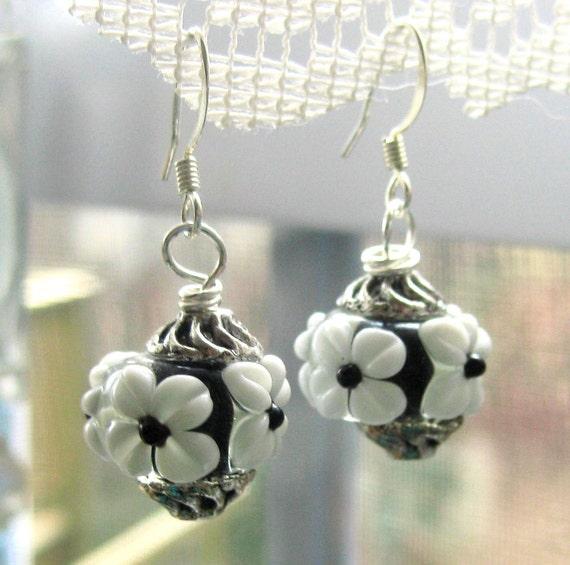 Black and White Glass Earrings