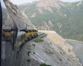 Train Photograph Mountain Photo Art Print  Denali, Alaska Railroad Tracks 5x7 Nature Photograph Travel Enthusiast