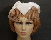 Vintage White Petal Net Birdcage Veil Hat