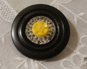 Yellow & Black Vintage Button Brooch