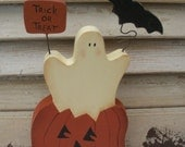 Handpainted Jack-o-lantern Shelf Sitter - Ghost & Bat