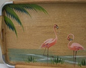 Vintage Handpainted Flamingo Tray - Chrome Corners