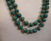 Vintage Teal Turquoise Beaded Necklace