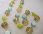 Vintage 1960s Mod Lime Green & Blue Beaded Necklace