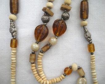 Vintage Earthtone Bead Necklace - Glass Shell Silvertone