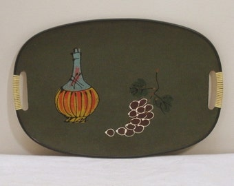 Vintage 1960s Wine and Grapes Tray