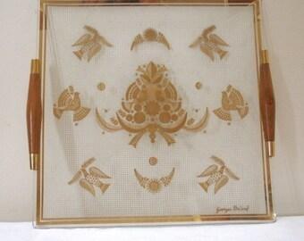 SALE - Vintage Georges Briard Plate with Wood Handles