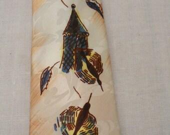 Vintage 1960's Handpainted Bird Birdhouse Necktie
