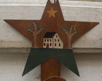 Handpainted Rusty Tin House Hook