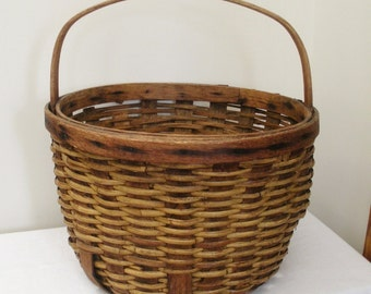 Antique Primitive Gathering Basket - Large Round Basket