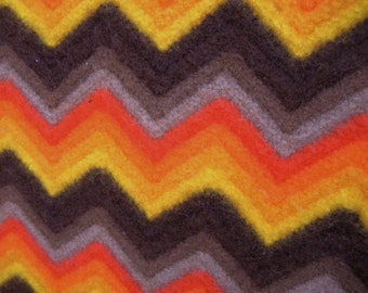 Vintage Chevron Stripe Orange Brown Lap Afghan