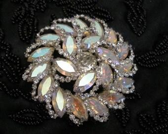 Vintage Weiss Rhinestone Brooch - Swirled Marquis Cut