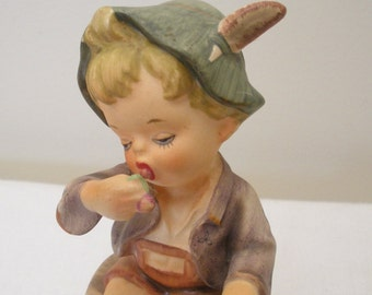 SALE - Vintage Napco Boy Eating Berries Figurine - Our Children Series