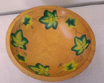 SALE - Vintage 11 in. Wood Ivy Bowl - Hand Painted Ivy Leaves