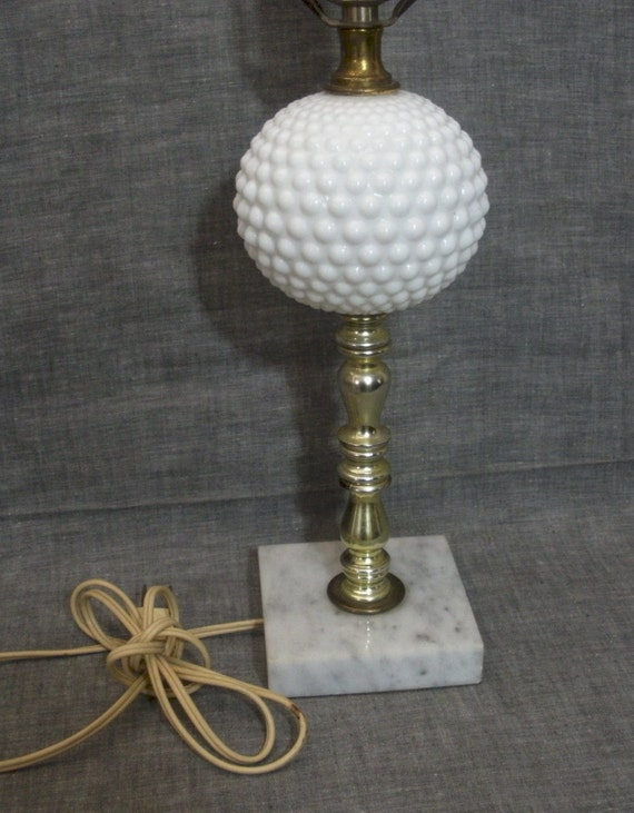 Milk Glass Hobnail Lamp With Marble Base Vintage