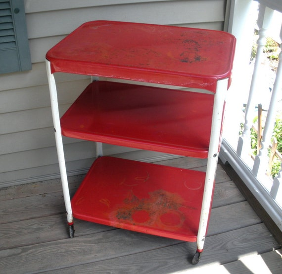 RESERVED for jschmitt80 - Vintage Cosco Red & White Metal Utility Kitchen Cart