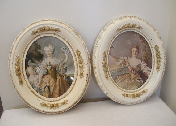 RESERVED for Angie Antique Carved Oval Pair of Frames - Paris Prints