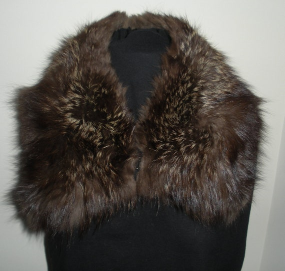 Vintage Dark Brown Silver Tip Fox Collar
