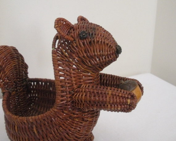 Vintage Squirrel with Acorn Basket