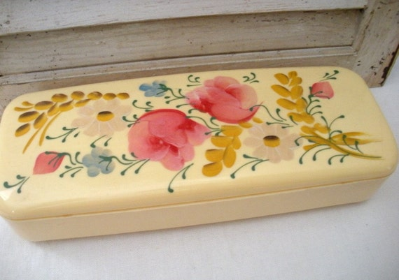 Vintage Ivory Plastic Handpainted Tole Hair Pin Box
