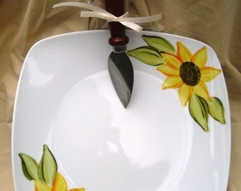 Hand Painted Sunflower Serving Plate