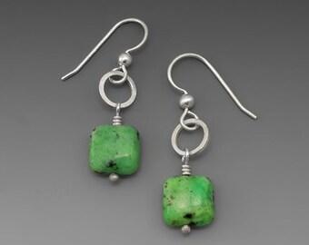 Square Green Turquoise Dangle Earrings