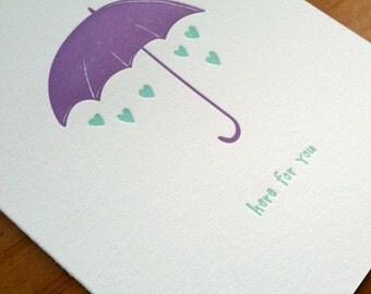 Letterpress Sympathy Card - Lovely Umbrella
