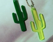 Green Cactus Necklace in Neon or Regular Green, Succulent Plant Jewelry, Cactus Jewelry
