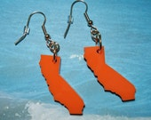 Acrylic California Earrings, State Earrings, Orange Lasercut