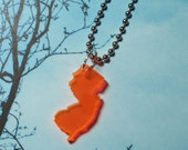 New Jersey Necklace, Neon Orange Small Size, Lasercut Acrylic Jewelry, State Love Necklace