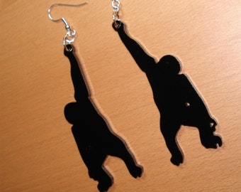 Chimpanzee Earrings - Lasercut Black Acrylic - Dangle Earrings - Swinging Chimp - Monkey Shape