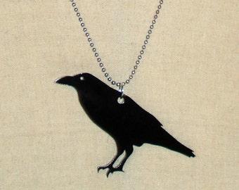 Raven Necklace, Animal Jewelry, Crow Black Bird Necklace, Lasercut Acrylic, Gothic Jewelry, Bird Jewelry