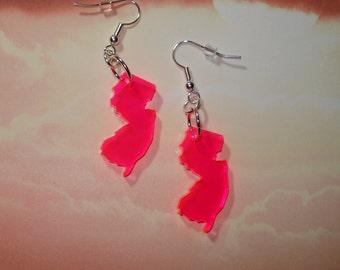 New Jersey Earrings - Fluorescent Neon Pink