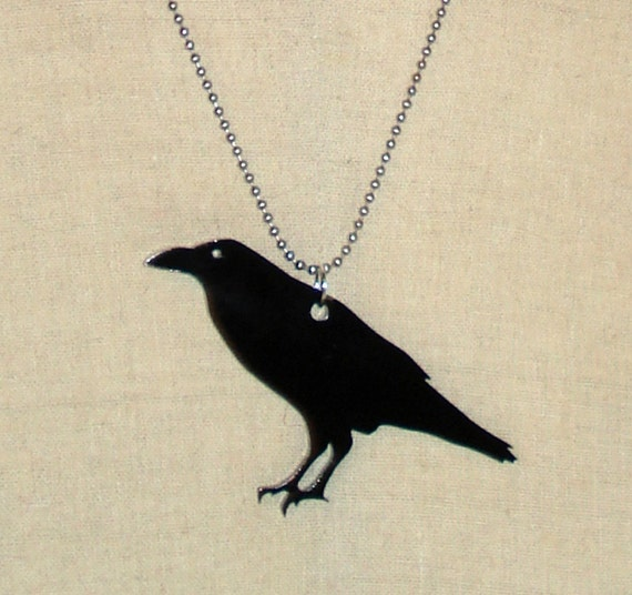Black Raven Necklace - A Crow Bird Made from Laser-Cut Acrylic