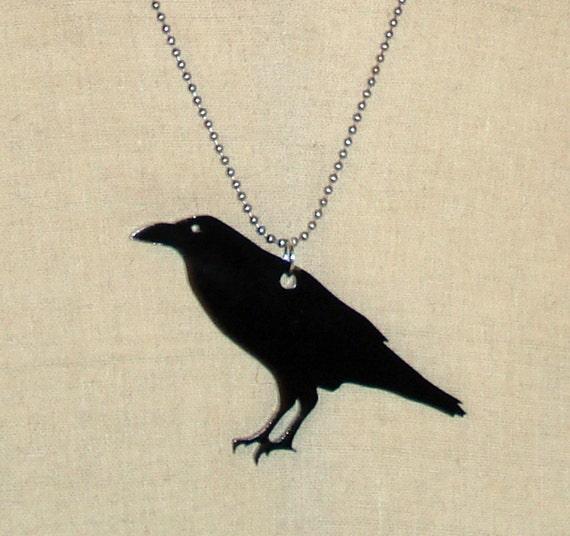 Animal Shape Jewelry, Crow Lasercut Acrylic Jewelry, Raven Pendant Necklace