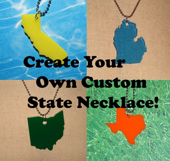 Custom State Personalized Necklace in LaserCut Acrylic - Choose Color, Chain, and State