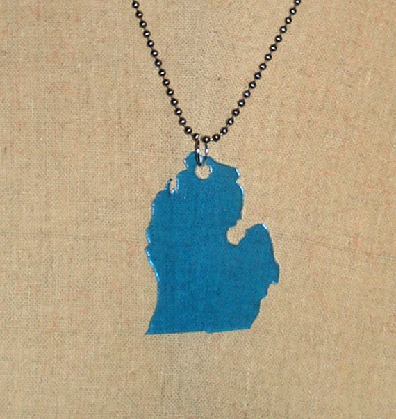 Michigan Necklace, Large Size in Light Blue Acrylic, MI Jewelry, State Necklace