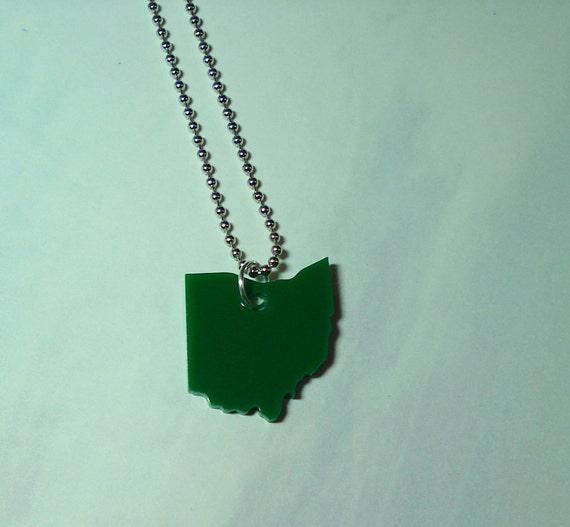 Small Ohio Necklace - Green Acrylic Pendant on Ball Chain