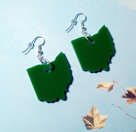 Ohio Earrings, Green Acrylic Laser-Cut State Jewelry