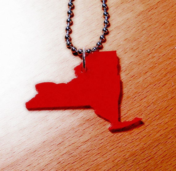 New York Necklace, Red Acrylic State Shape, State Necklace, Lasercut Jewelry